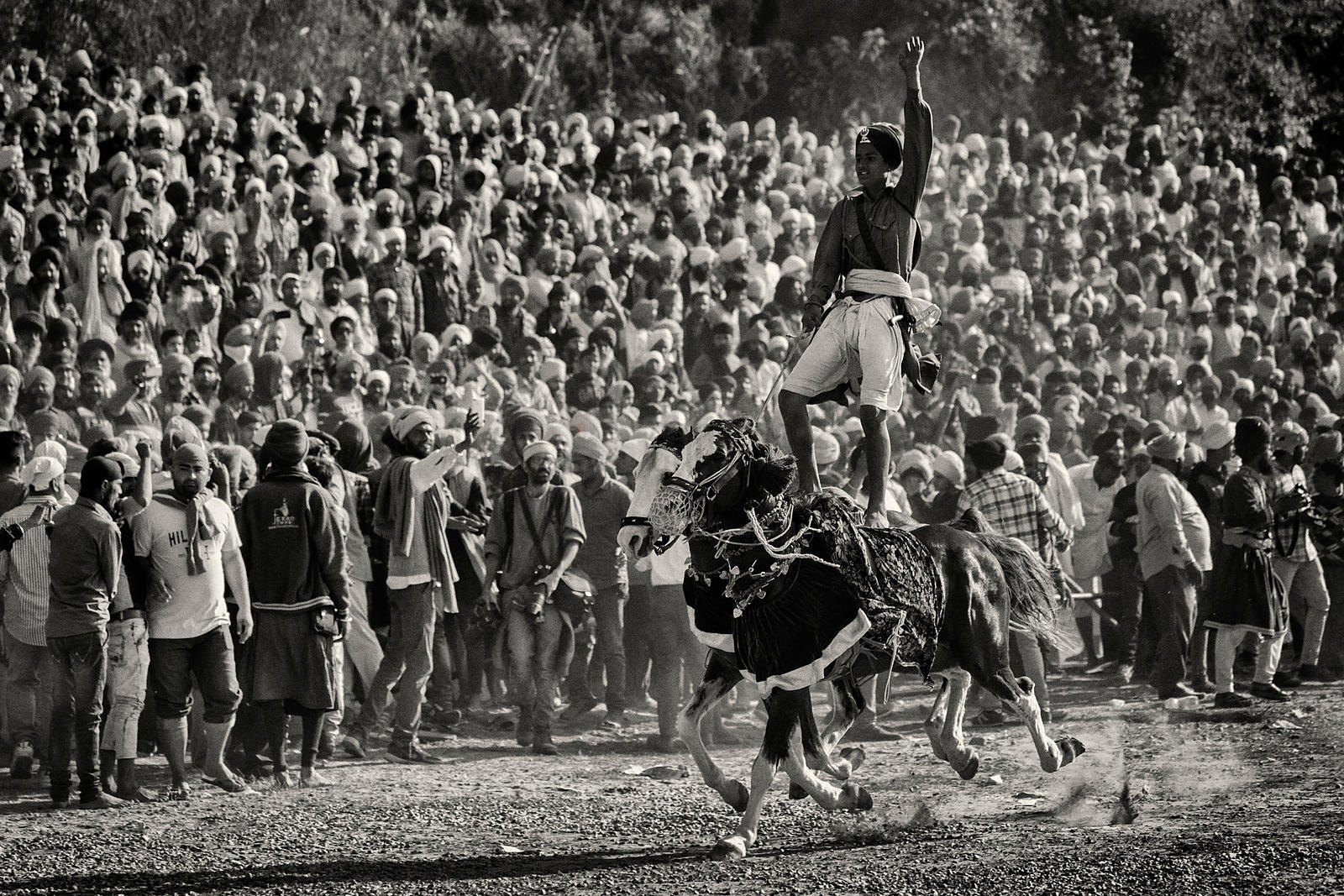 A Nihang Sikh Shows of his Riding Skills at the Holla Mohalla Horse Games