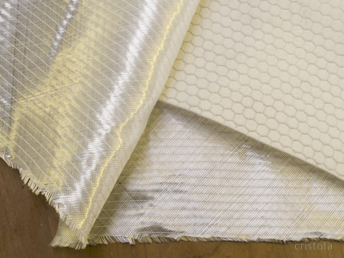 Hull materials - special biaxial non-woven glass fibre sandwiches Soric resin infusion medium