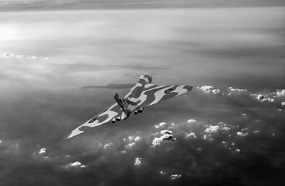 Vulcan over the Channel black and white version