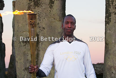 Michael Johnson and Olympic Flame at Stonehenge