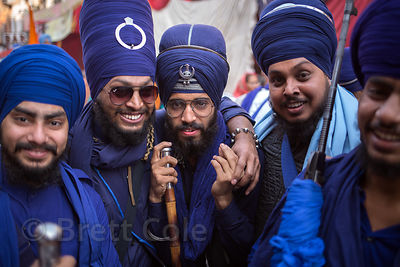 Men at a Sikh Festival in Delhi, India