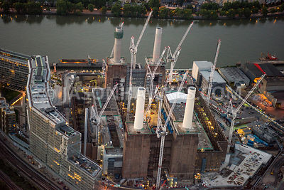 Aerial view of London, Nine Elms and Battersea redevelopment and regeneration.