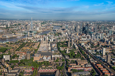 Aerial view of London, St Georges in the East towards City of London skyline.