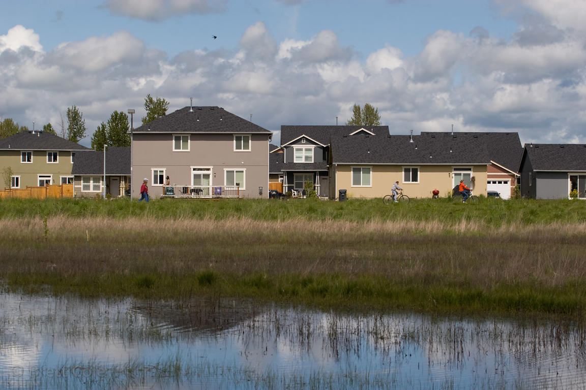 New homes built on filled wetlands in the Willamette Valley, Eugene, Oregon. 99%% of the wetlands in the valley have already ...