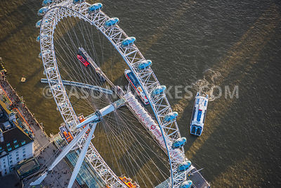 Aerial view of Londo, River Thames with London Eye.