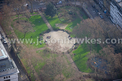 Aerial view over Russell Square, London