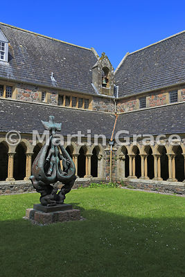 The Cloister (largely reconstructed in 1950s) with Descent of the Spirit sculpture (1959) by Lithuanian Jacques Lipchitz (1891-1973), Iona Abbey, Iona, Inner Hebrides, Scotland
