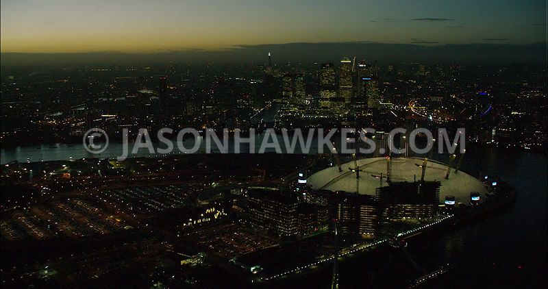 London night aerial footage, O2 Arena at night.