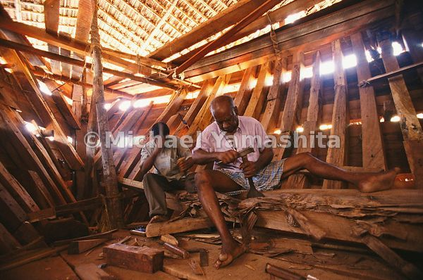 Craftsmen in the dhow yard in Beypore, Kerala still build ships the old-fashioned way - by hand, out of Burmese teak without ...