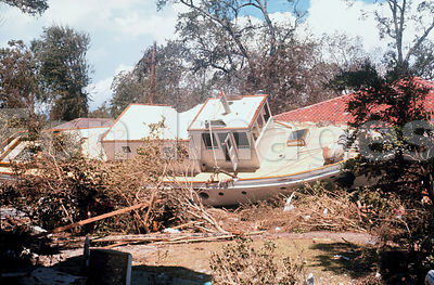 Washed-up boat in Biloxi after Hurricane Camille