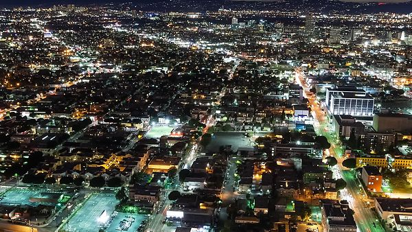 Bird's Eye: A Grid of Lights & Traffic Above West Los Angeles
