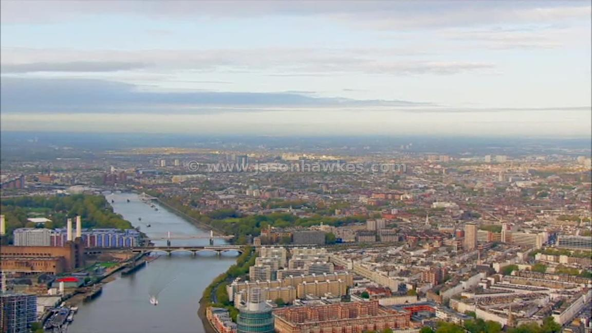 Aerial footage of London starting at Battersea and ending at Elephant and Castle