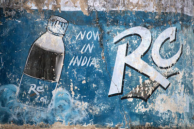 Weathered advertisement for RC Cola, Pushkar, Rajasthan, India