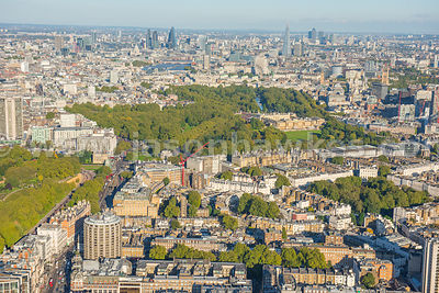 Aerial view of Belgravia and Buckingham Palace