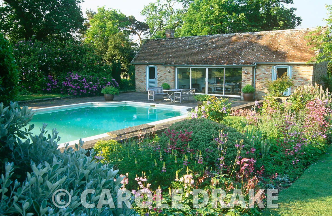Country garden in May with swimming pool and pool house framed by border planted with aquilegias, hardy geraniums, hebes and ...