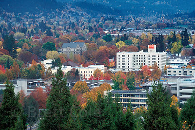 View of downtown Eugene, Oregon in Autumn