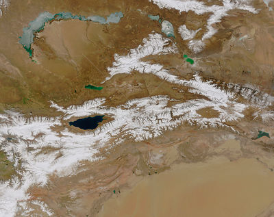 EARTH Central Asia -- ca. 2003 -- This satellite image shows the Tien Shan mountain range in Central Asia and the Taklamakan ...