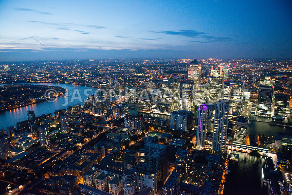 Aerial view of Canary Wharf at night, Isle of Dogs, London