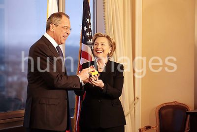 """Restart Button"" offered by U.S. Secretary of State Hillary Rodham Clinton to Russian Foreign Minister Sergey Lavrov in Genev..."