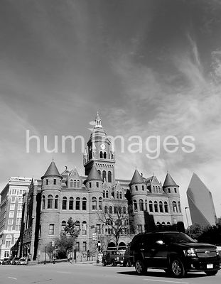 Old Red Courthouse building in downtown Dallas, TX (black and white)