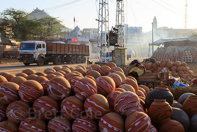 Clay water pots being sold in Pushkar, Rajasthan, India