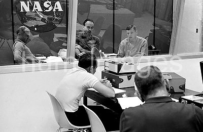 (27 July 1969) --- The crewmen of the Apollo 11 lunar landing mission go through their post flight debriefing session on Sund...