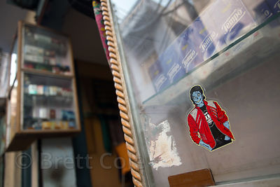 Window decal depicting singer Michael Jackson as a zombie, Varanasi, India