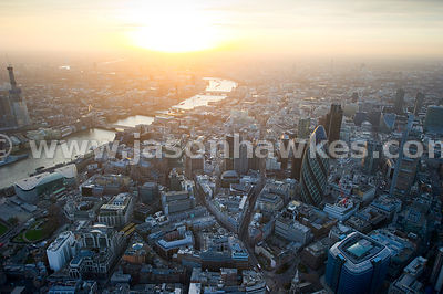 City of London at dusk. Aerial view.