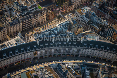 Aerial view of London, Regent Street with Piccadilly.