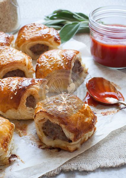 Fresh Baked Sausage Rolls with Tomato sauce