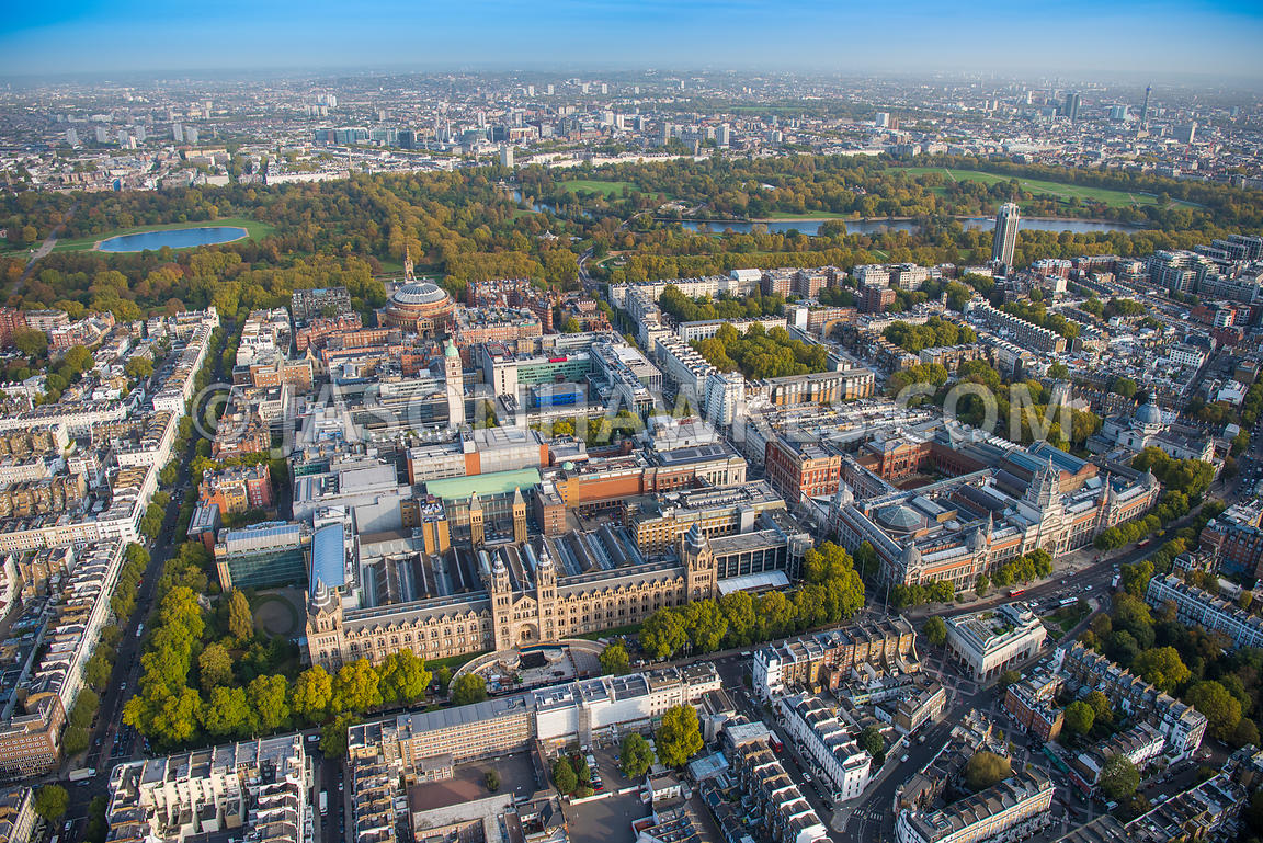 Aerial view of London, Victoria and Albert Museum, Brompton towards Knightsbridge and Hyde Park.