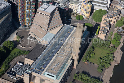 Aerial view of London River Thames, Tate Modern Extension