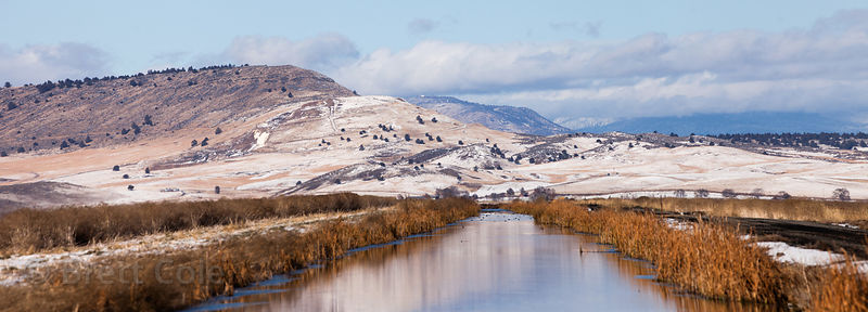 Wetlands and snowy hills in the Lower Klamath NWR, California