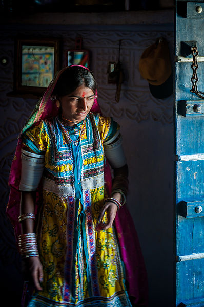 This photograph of a young woman was shot in a village in Bhuj, Gujarat