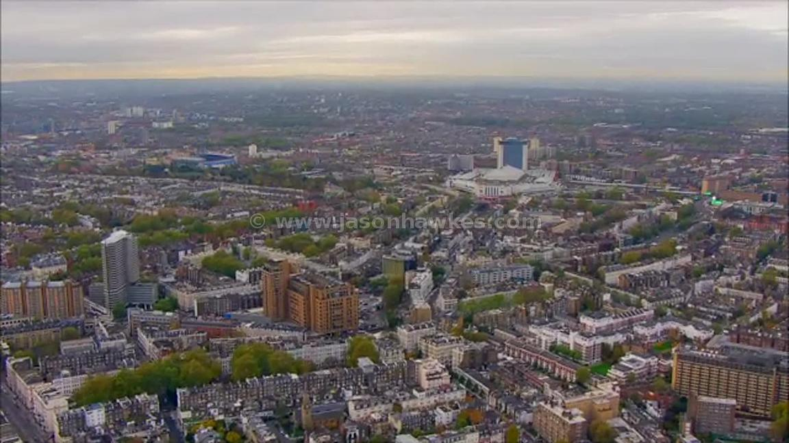 Aerial footage of Earl's Court, London