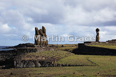 The five Vai Uri (Dark Water) moai with the Ko Te Riku moai beyond, Tahai complex, Easter Island