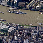 HMS Belfast in the Thames River