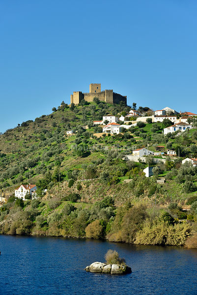 The 13th century castle of the fortified medieval village of Belver overlooking the Tagus river. Beira Baixa, Portugal