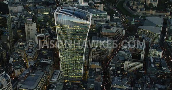 London Aerial Footage of 20 Fenchurch Street at night.
