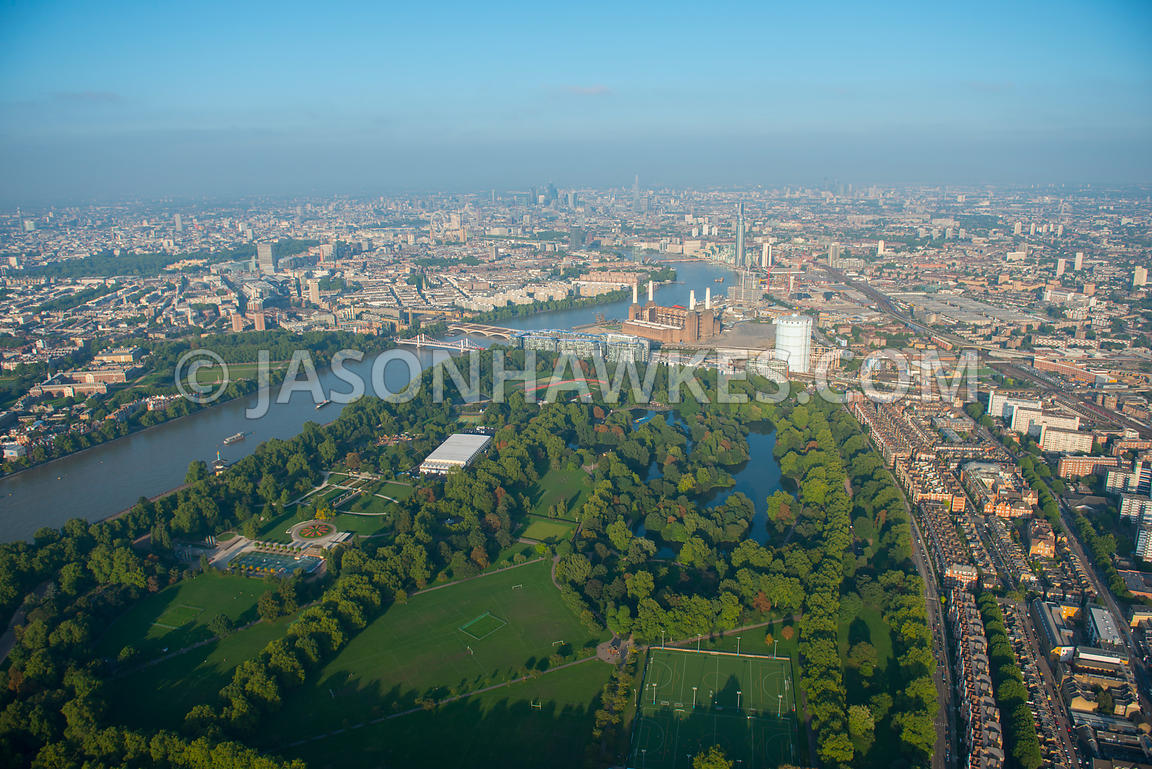 Aerial view over Battersea Park, London