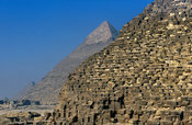 Pyramid of Khufu in front of Pyramid of Khafre with limestone covering at the summit, Pyramids of Giza, Cairo, Egypt