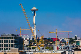 Construction Cranes in the South Lake Union Area of Seattle