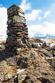 The summit cairn of High Seat in the Lake District in Cumbria