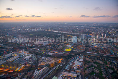 Aerial view of Battersea Park at dusk, London