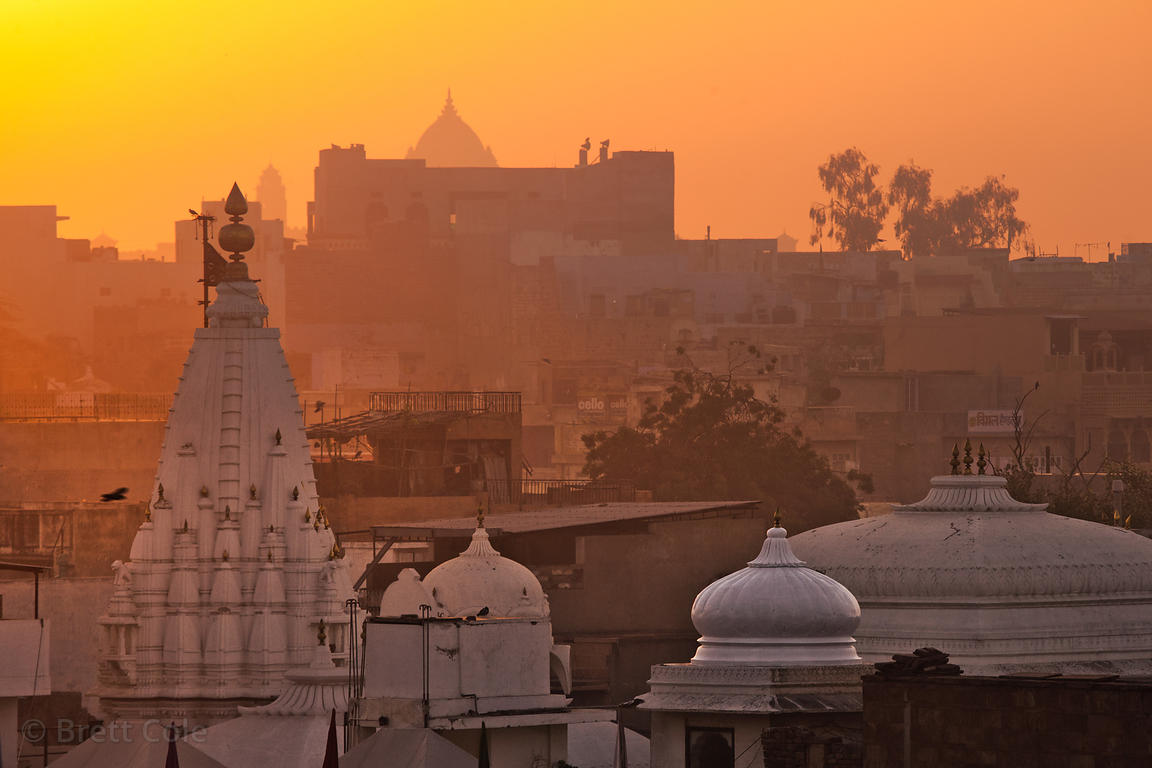 Sunrise over temples in Jodhpur, Rajasthan, India
