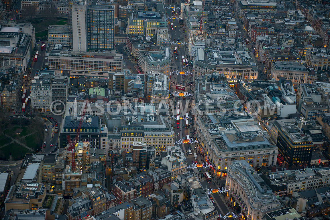 Aeril view of Oxford Street and Regent Street at dusk, London