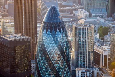 Aerial view of Swiss Re Tower, London