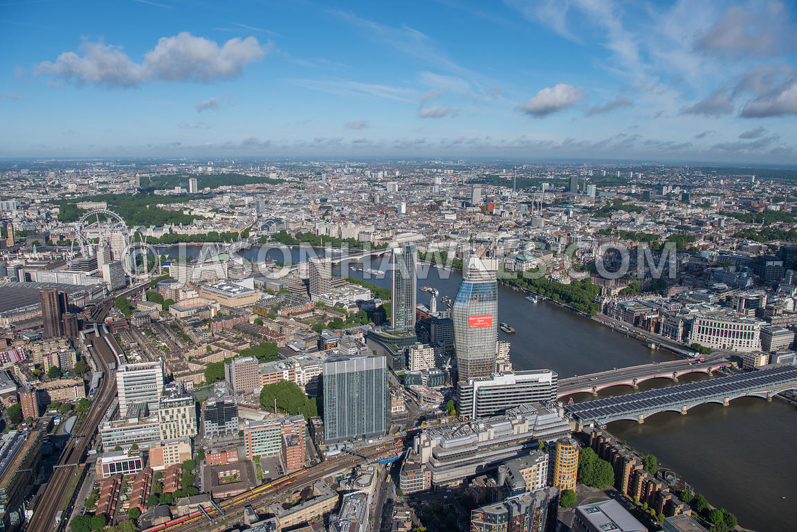 Aerial view of London River Thames with Blackfriars Bridges