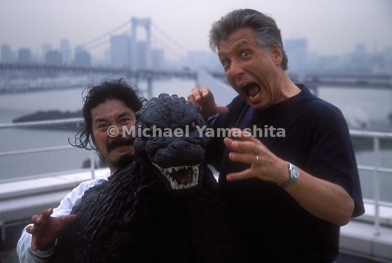 Satsuma and Tracy Dahby with Godzilla suit atop Nikko hotel. Odaiba, Japan.
