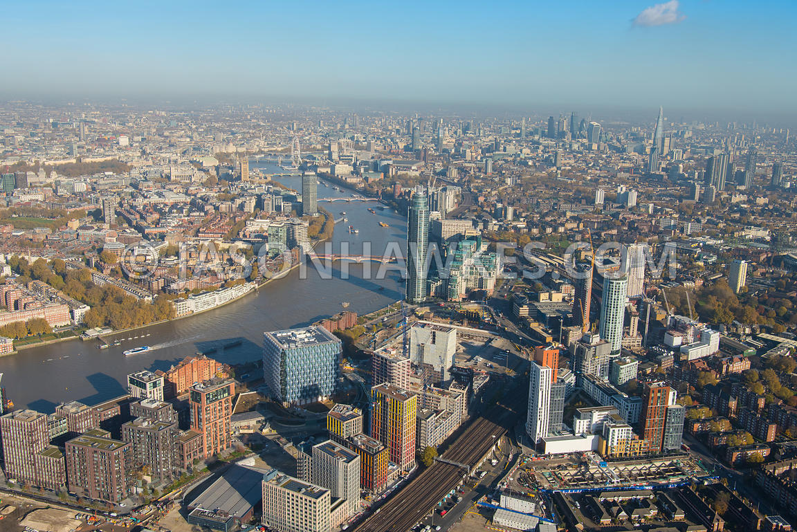 Aerial view of Nine Elms, London.